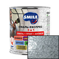 Эмаль SMILE молотковый эффект  3 в 1 Серая 0,7кг