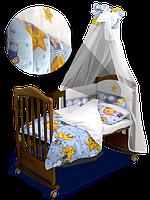 """Детский постельный комплект с балдахином """"Сонный Мишка"""" Premium 120*60 см  (Скидка на доставку Новой почтой - 25%)"""