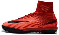 Сороконожки Nike Mercurial Superfly V TF Fire Red (найк) красные