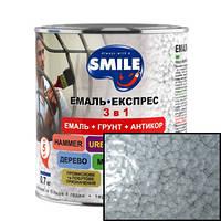 Эмаль SMILE молотковый эффект 3 в 1 Серая 2,2кг
