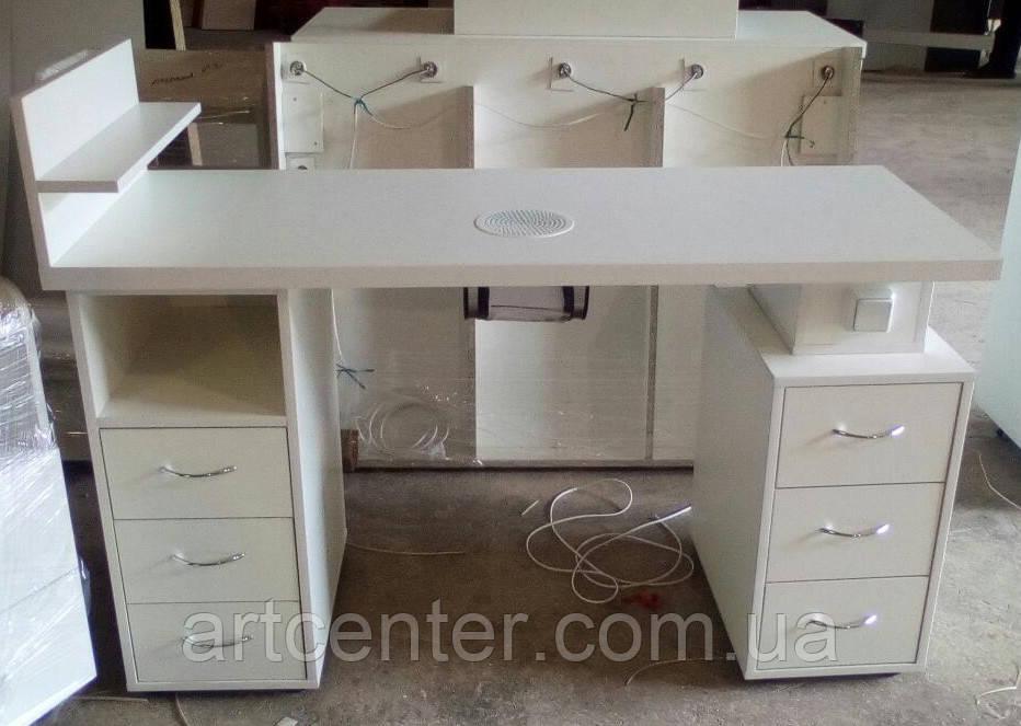 Маникюрный стол двухтумбоый с утолщенной столешницей и выдвижными ящиками