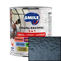 Эмаль SMILE молотковый эффект 3 в 1 Черная 0,7кг