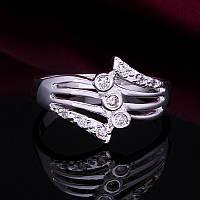 Кольцо веер фианиты 925 серебро проба фианиты