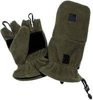 Перчатки флисовые с петлями (L) тёмно-зелёные MFH 15311B