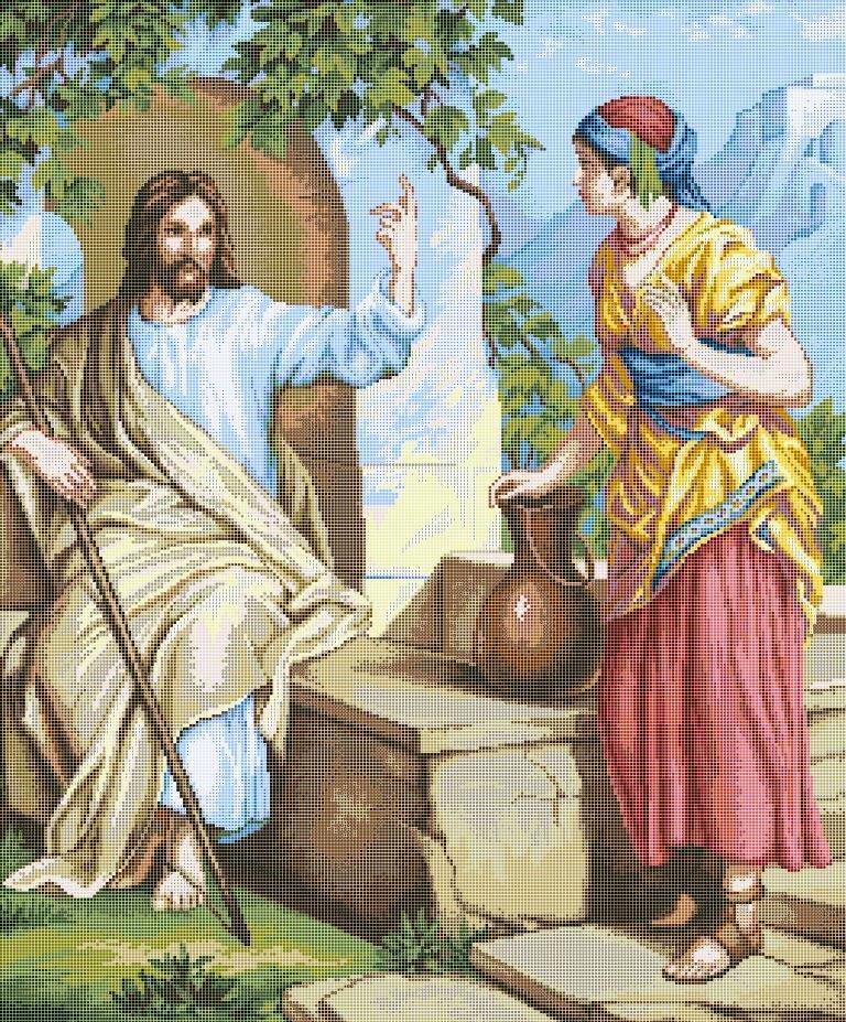 Схема для вишивки та вишивання бісером Бисерок ікона «Ісус и самаритянка» (A1) 60x80 (ЧВ-8015 (10))