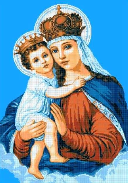 Схема для вишивки та вишивання бісером Бисерок ікона «Мадонна з немовлям» (A1) 60x80 (ЧВ-8018 (10))
