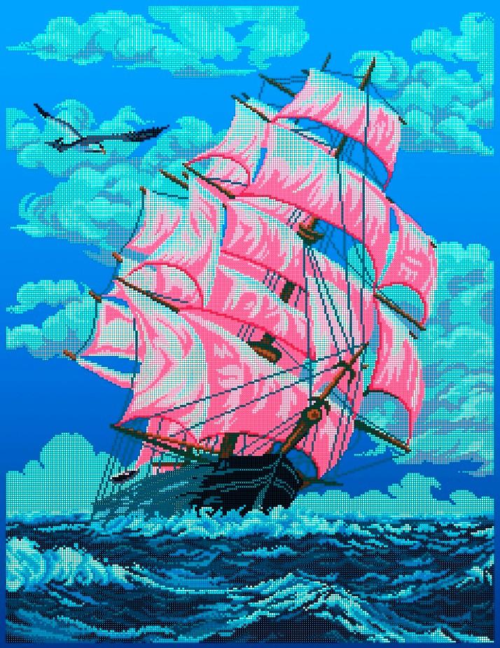 Схема для вишивки та вишивання бісером Бисерок «Червоні вітрила» (A1) 60x80 (ЧВ-8007(10))