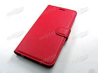 Кожаный чехол книжка Huawei Y7 2017 красный