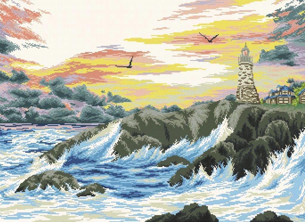 Схема для вишивки та вишивання бісером Бисерок «Маяк на березі моря» (A1) 60x80 (ЧВ-8020 (10))
