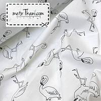 Ткань с фламинго на белом фоне №155