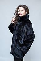 """Норковая шуба, (черного цвета) с воротником Шанель. Диагональная сборка - """"елочка"""""""