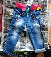 Джинсы для девочек 2-5 лет с вышивкой, синего цвета оптом