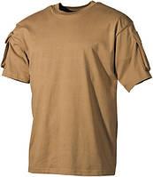 Тактическая футболка (XXL) спецназа США, койот, с карманами на рукавах, х/б MFH 00121R