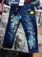 Джинсы для девочек 2-5 лет цветок, синего цвета оптом