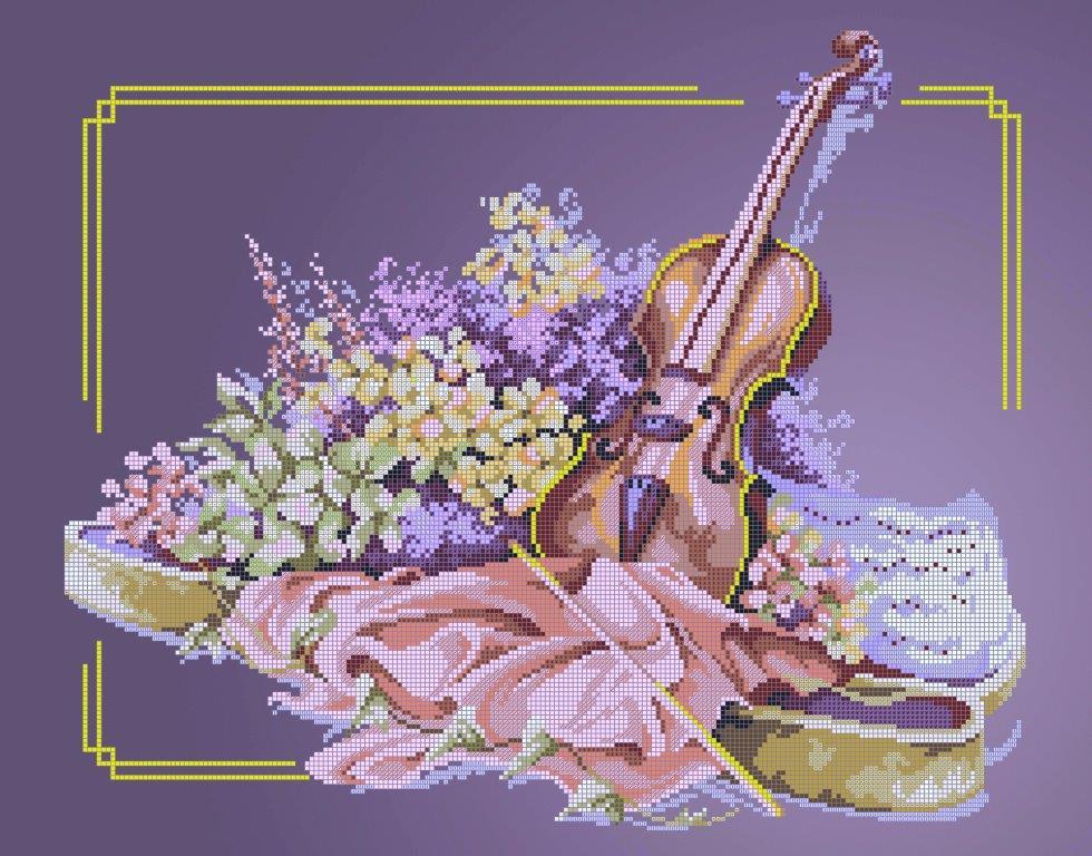 Схема для вишивки та вишивання бісером Бисерок «Скрипка»  (A2) 40x60 (ЧВ-7058 (10))