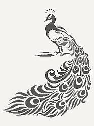 Схема для вишивки та вишивання бісером Бисерок «Павлін монохром» (A2) 40x60 (ЧВ-7059 (10))