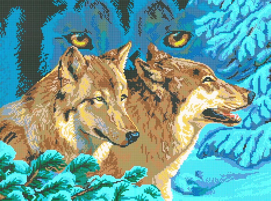Схема для вишивки та вишивання бісером Бисерок «Погляд вовка» (A2) 40x60 (ЧВ-7008(10))