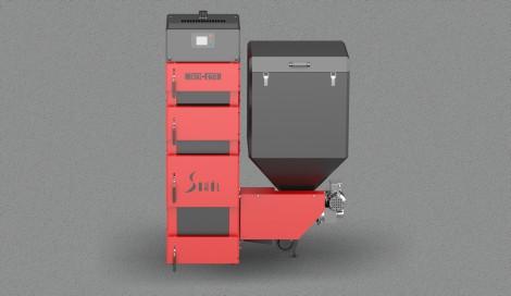 Котел твердотопливный Metal Fach SD DUO-BIO-28 (28 кВт 220-300 м2) с пеллетной горелкой, фото 1