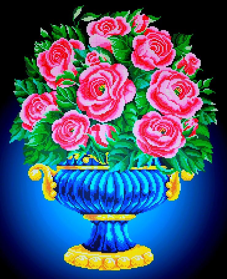 Схема для вишивки та вишивання бісером Бисерок «Ваза з рожевими трояндами» (A2) 40x60 (ЧВ-7016(10))