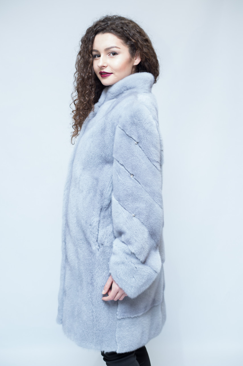 """Удлиненная норковая шуба, цвет - """"Серый Жемчуг"""" / mink coat 479"""