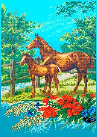 Схема для вишивки та вишивання бісером Бисерок «Коні на лузі» (A2) 40x60 (ЧВ-7018(10))