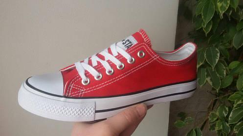 38, 38 розміри жіночі ЧЕРВОНІ кросівки, кеди конверси AIL STAR в стилі Converse all star, фото 2