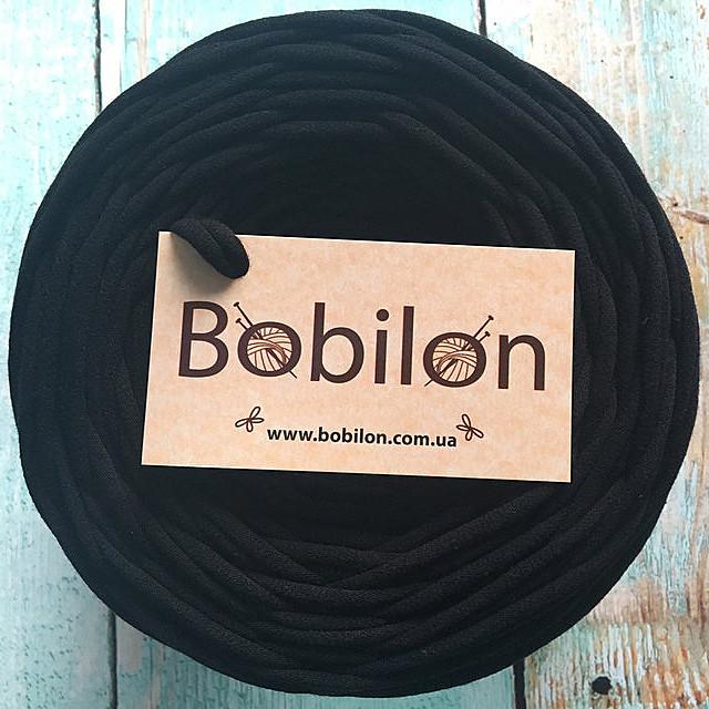 Пряжа трикотажная Bobilon Micro 3-5 мм, цвет Черный