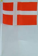 Флажок Дании 13x20см на пластиковом флагштоке