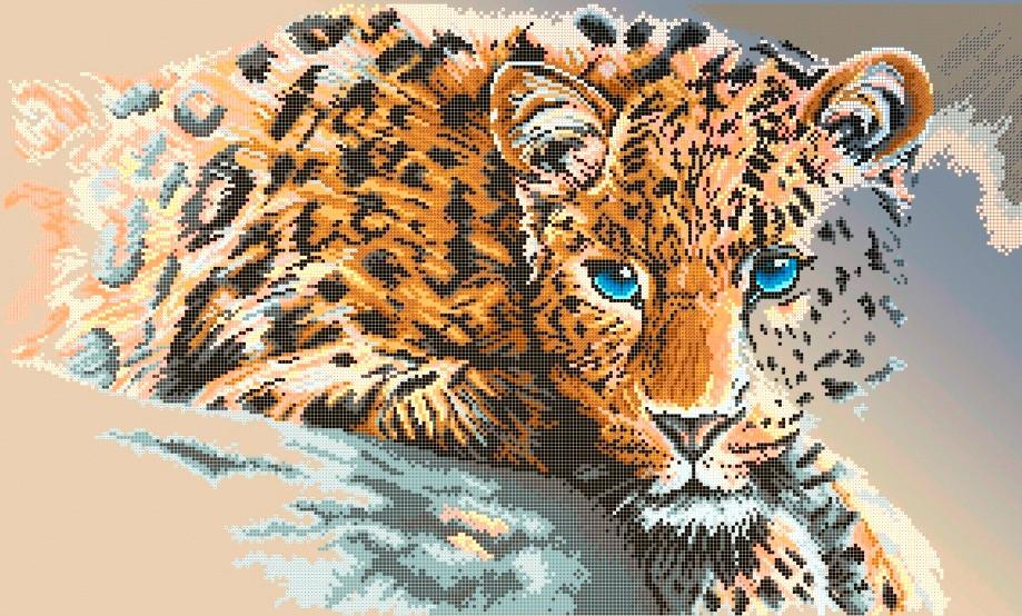 Схема для вишивки та вишивання бісером Бисерок «Леопард» (A2) 40x60 (ЧВ-7037(10))