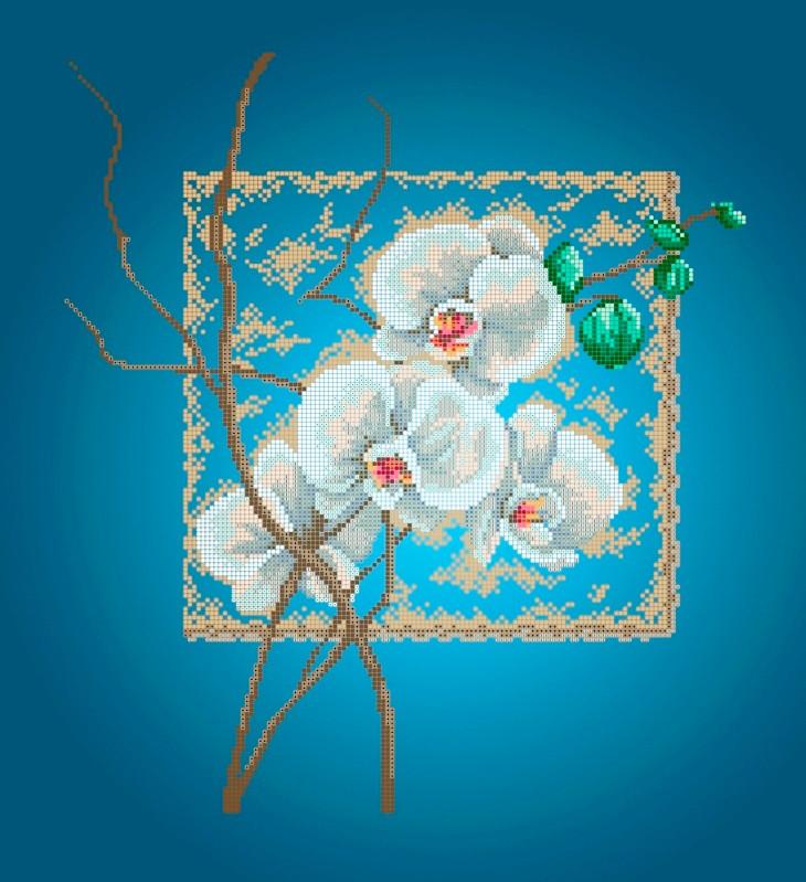 Схема для вишивки та вишивання бісером Бисерок «Орхідея»Синій фон (A2) 40x60 (ЧВ-7001-Г(10))