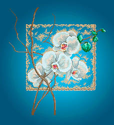 Схема для вишивки та вишивання бісером Бисерок «Орхідея»Синій фон (A2) 40x60 77ddbc56cf5e9