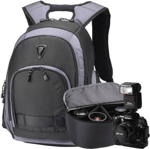 """Рюкзак с отделом для ноутбука 15,6"""" с сумкой для фотокамеры Sumdex PON-395GY черный с серым + чехол"""
