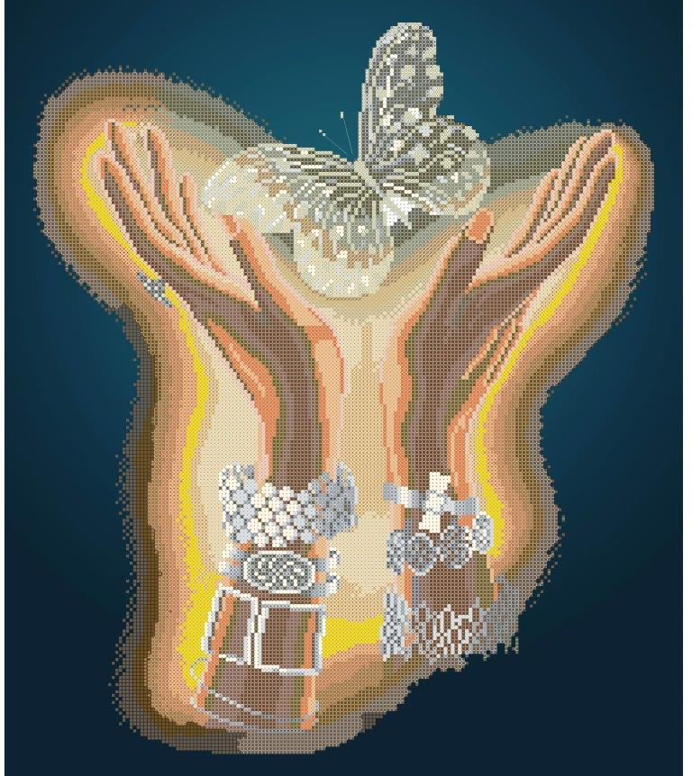 Схема для вишивки та вишивання бісером Бисерок «Кришталевий метелик» (A2) 40x60 (ЧВ-7042(10))