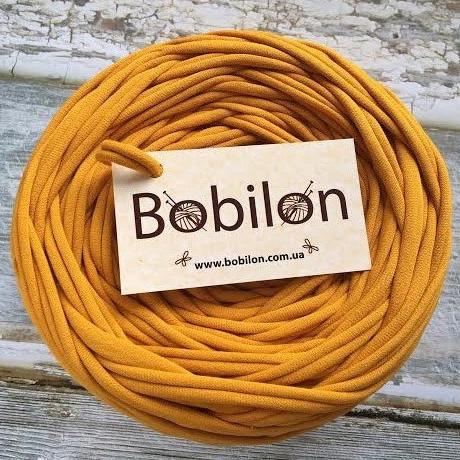 Трикотажная пряжа Bobilon Micro 3-5 мм, цвет Горчица