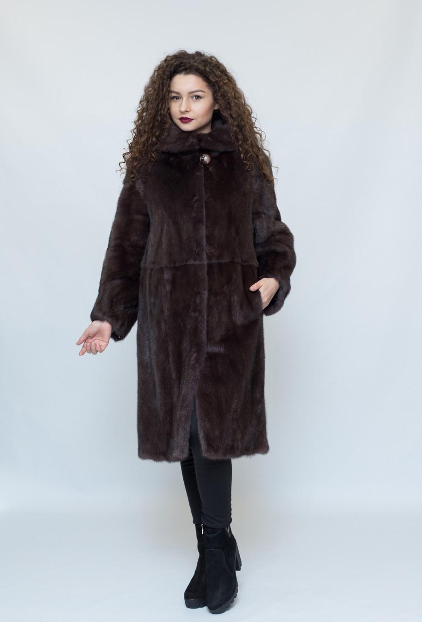 Норковая длинная шуба, с капюшоном, цвет - махагон / mink coat 485