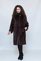 Норковая длинная шуба, с капюшоном, цвет - махагон / mink coat 485, фото 1