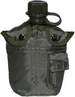 Фляга 1л пластиковая в чехле, тёмно-зелёная MFH 33213B