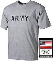 """Футболка х/б с надписью """"ARMY"""" серая (M) MFH 00253M"""