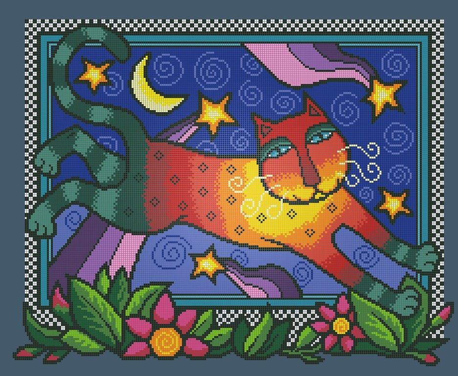 Схема для вишивки та вишивання бісером Бисерок «Веселковий кіт 7044» (A2) 40x60 (ЧВ-7044(10))