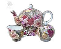 Чайный набор «Букет роз»: чайник, сахарница и молочник Carmani