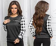 Женский свитер с принтом и карманами