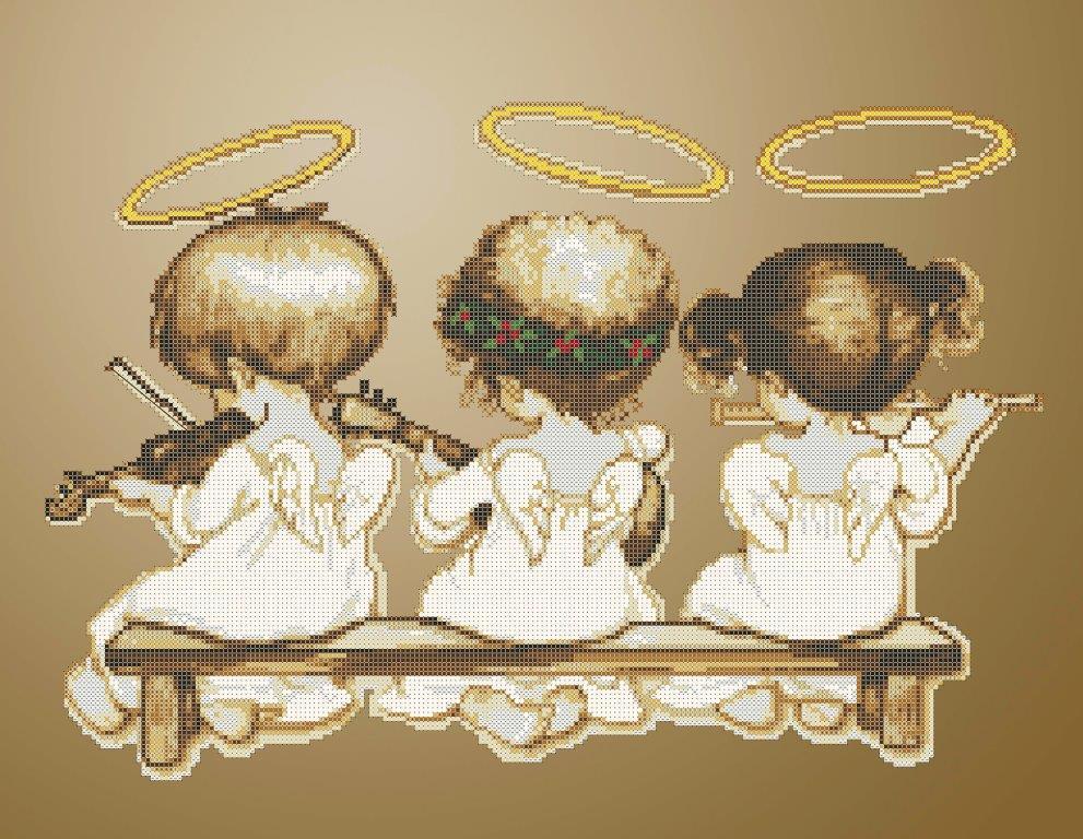 Схема для вишивки та вишивання бісером Бисерок «Ангелочки-музиканти» (A2) 40x60 (ЧВ-7052 (10))