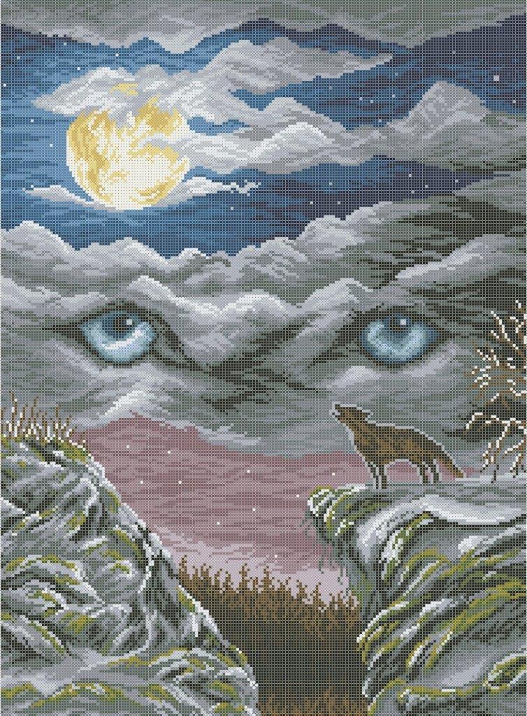 Схема для вишивки та вишивання бісером Бисерок «Очі вовка»  (A2) 40x60 (ЧВ-7054 (10))