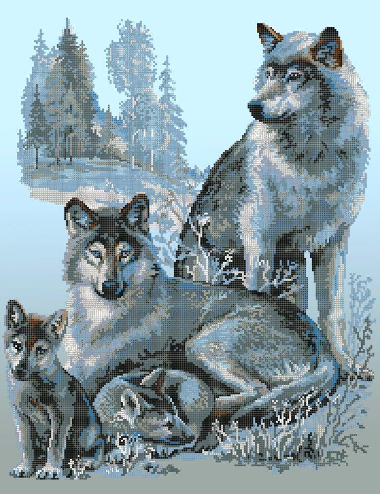 Схема для вишивки та вишивання бісером Бисерок «Сімейство вовків»  (A2) 40x60 (ЧВ-7057 (10))