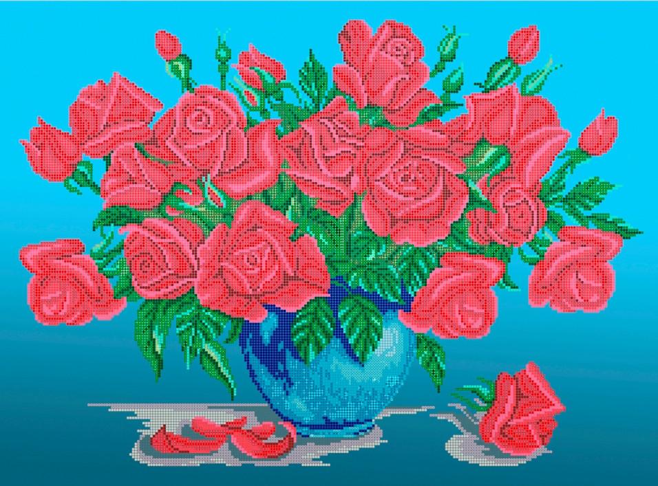 Схема для вишивки та вишивання бісером Бисерок «Букет троянд» (A2) 40x60 (ЧВ-7002(10))
