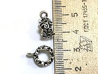 "Бейл, Держатель для кулона, "" Цветок "", Античное серебро, 13 mm x 15 mm"