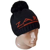 """Вязаная мужская шапка """"Zara"""" с помпоном (утепленный вариант)."""