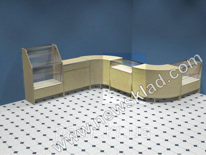 Торговий прилавок(ламінований ДСП, скляна вітрина) ПС1