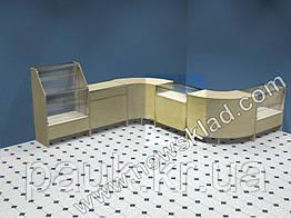 Прилавок торговый (ламинированный ДСП, стеклянная витрина) ПС1