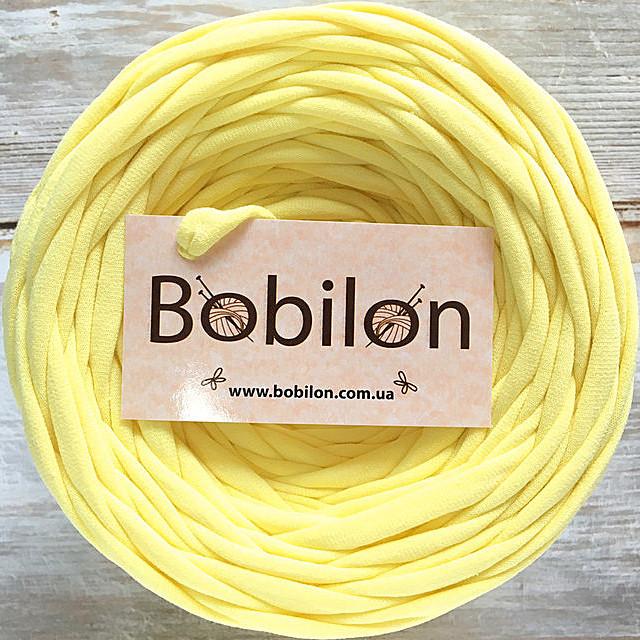 Трикотажная пряжа Бобилон 7-9 мм, цвет Лимонный 50 м